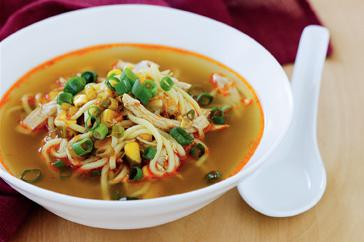 How to cook Asian chicken, corn and noodle soup