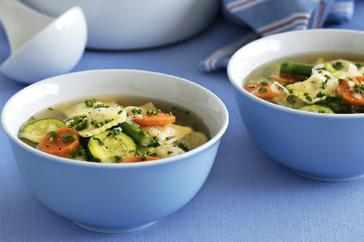 How to cook Spring vegetable soup with ravioli