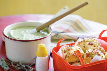How to cook Zucchini soup with bacon, cumin & cheddar scones